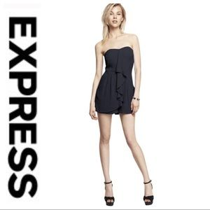 💕SALE💕Express Black Silk Ruffle Strapless Dress